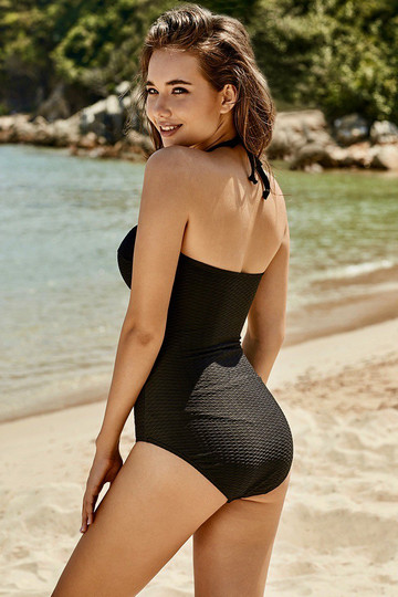 Black Zipper Strap Bandeau One-Piece Swimsuit