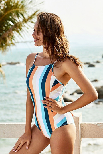 Colorful Striped Halter One-Piece Swimsuit