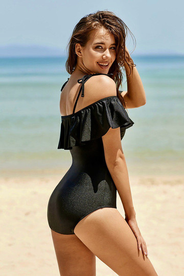 Black Ruffled Off Shoulder One-Piece Swimsuit