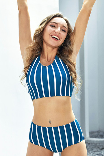 Striped Blue&White Bikini Top With Striped Bottom
