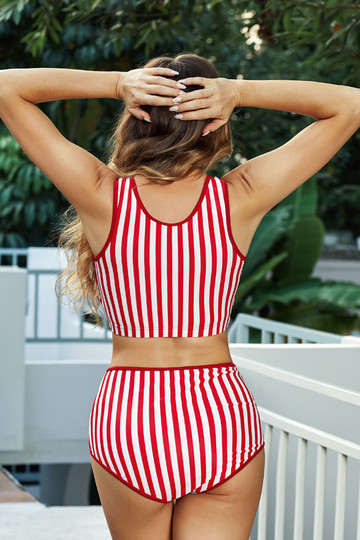 Red & White Striped Cute Bikini Set