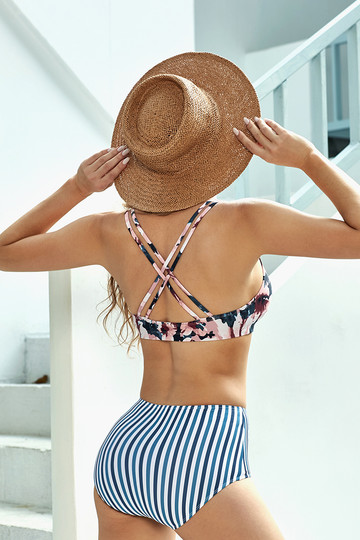 Floral Strap Bikini Top With Stripe Bottom