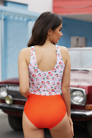 Strawberry Print Buttoned Tankini Top With High Waist Bottom