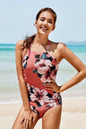 Pink Floral Halter One-Piece Swimsuit