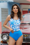 Floral Print Buttoned Tankini Top With Blue Bottom