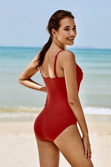 Red Strap Ruched One-Piece Swimsuit
