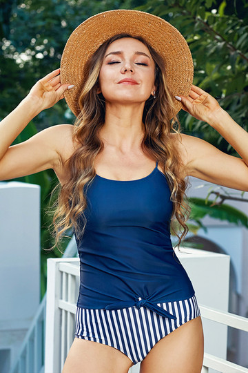 Solid Navy Strap Knot Tankini Top With Striped Bottom