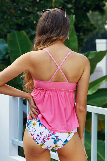 Pink Peplum Waist Tankini Top With Floral Print Bottom