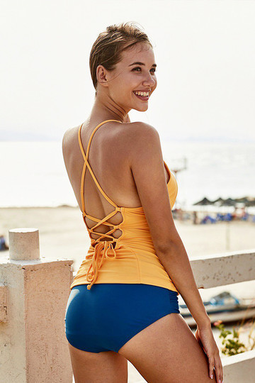 Solid Yellow Halter Tankini Top With Blue Bottom