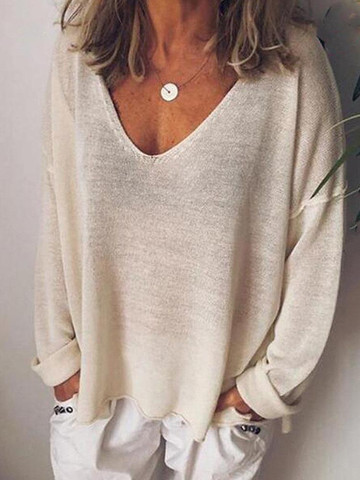 Long Sleeve Solid Color V-neck Casual Blouse