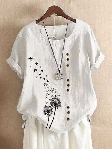 Flower Birds Print Short Sleeve Button T-shirt