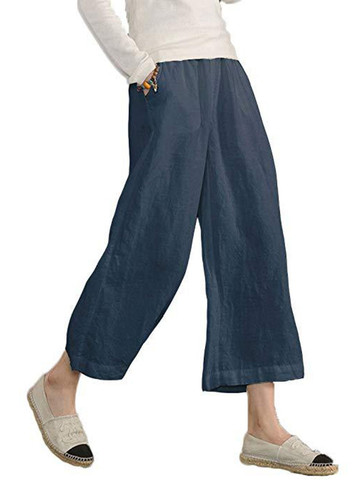 Solid Casual Wide Legs Linen Pants