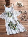 Vintage Boho Print Lace Two-piece 3/4 Sleeve Dress